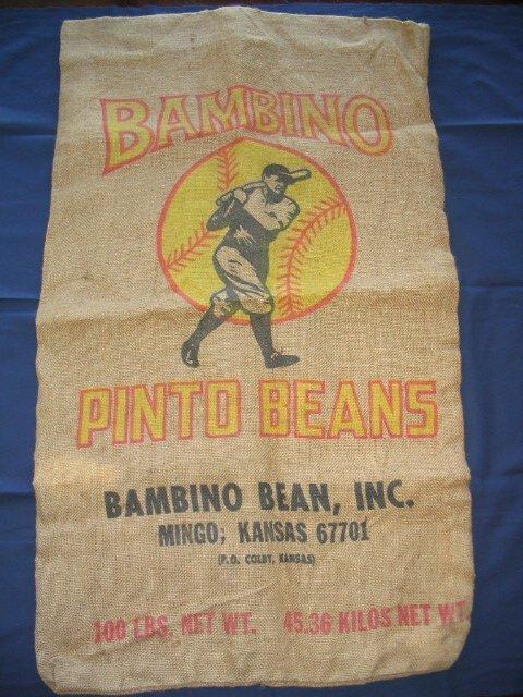 19: Babe Ruth Pinto Beans Burlap Bag