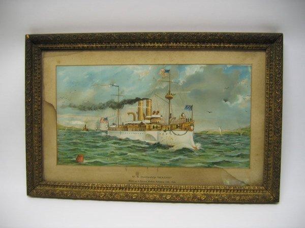 10: U.S. Battleship Maine - framed and matted print