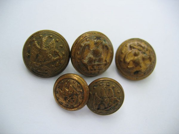 357: Civil War Union Navy Buttons (5)