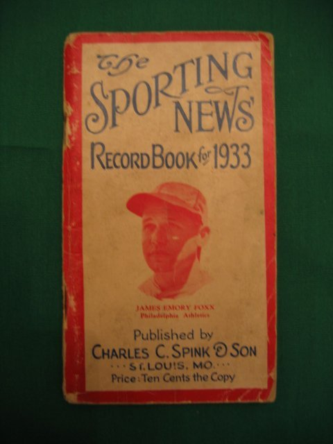 """1016: Jimmy Foxx """"The Sporting News"""" 1933 Record Book"""