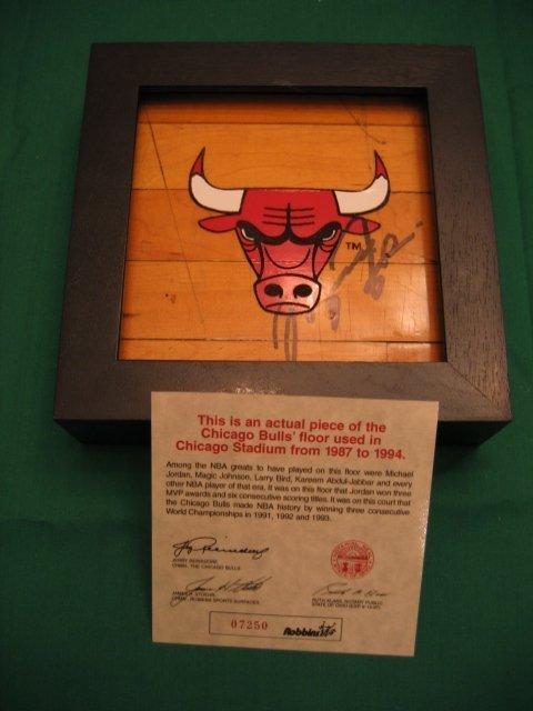 1211: Chicago Bulls Floor Piece Autographed Michael Jor
