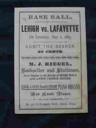 Lehigh vs. Lafayette, May 1885 Program