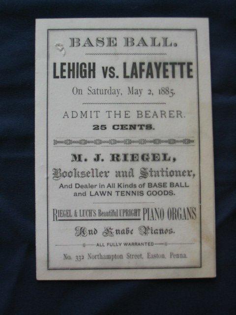 1001: Lehigh vs. Lafayette, May 1885 Program