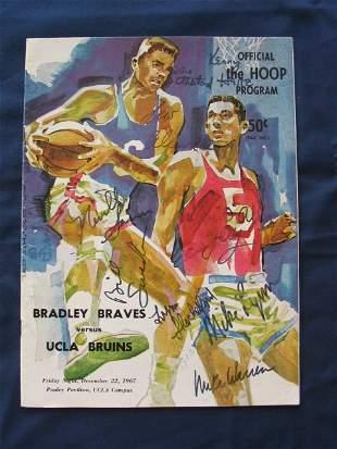 1967 UCLA vs. Bradley HOOP Autographed Program