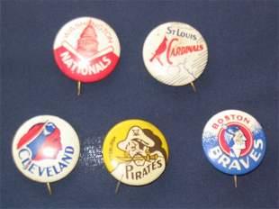 (5) Major League Baseball Pins circa 1930's
