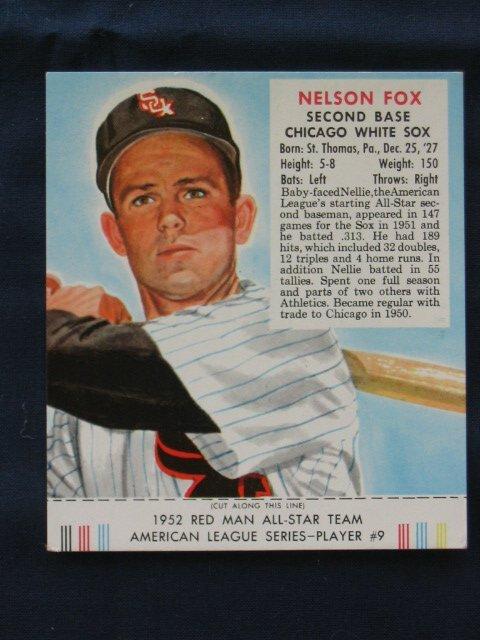 1012: Nellie Fox 1953 Red Man Tobacco Card w/Tab