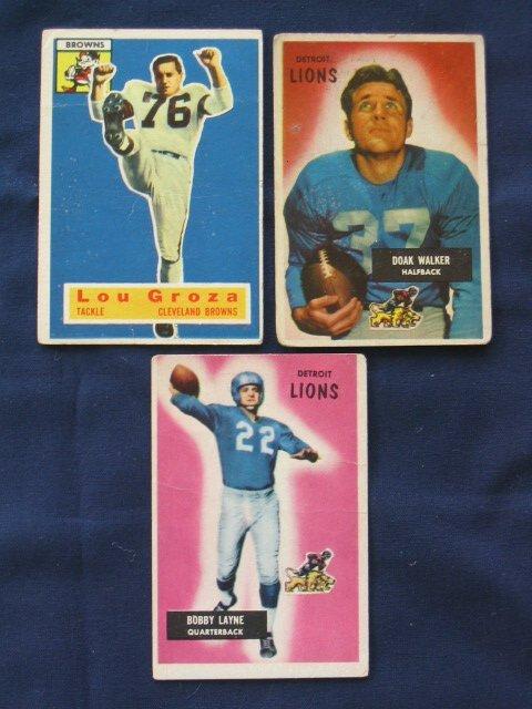 1013: (3) Bowman 1950's Football HOF Cards