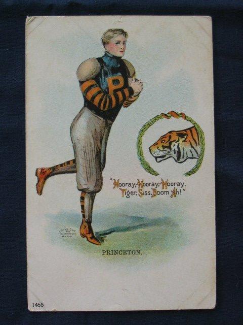 1014: Princeton Tigers 1905 Football Player Post Card w