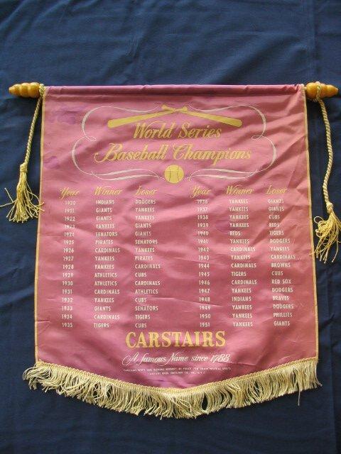 1015: 1951 Carstairs World Series Baseball Banner