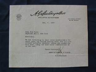 A.G. Spalding & Bros. 1929 Signed Letterhead