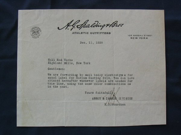 1017: A.G. Spalding & Bros. 1929 Signed Letterhead