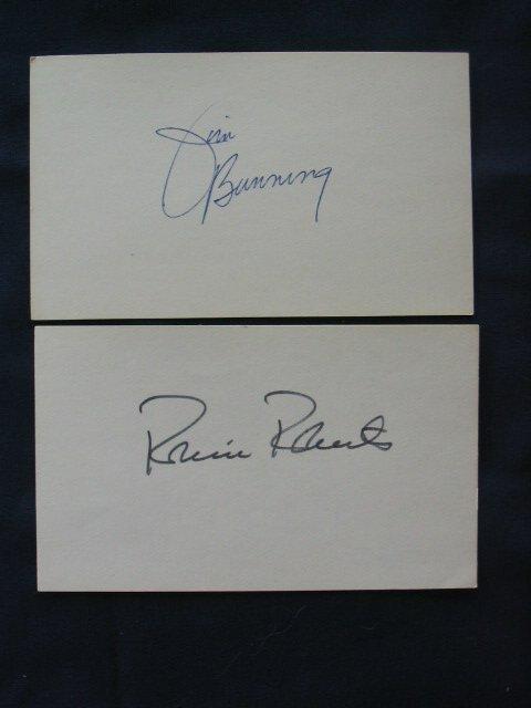 1018: Robin Roberts & Jim Bunning 3 x 5 Autographs
