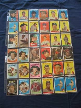 (4) Sheets 1957 - 1960 Topps Baseball Cards