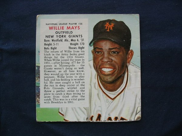 1024: Willie Mays 1954 Red Man Tobacco Card