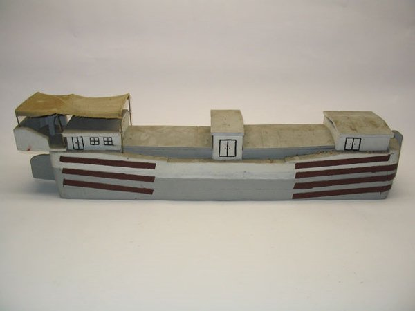 2184: Wooden Canal Boat Model Toy - 2