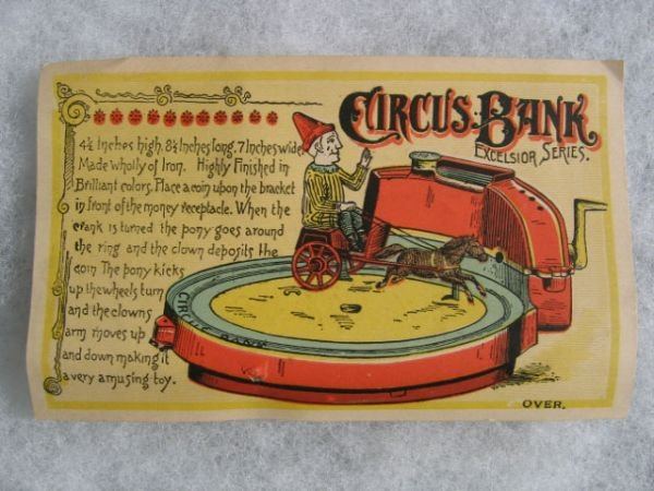 2088A: Excelsior Mechanical Circus Bank Ad Card