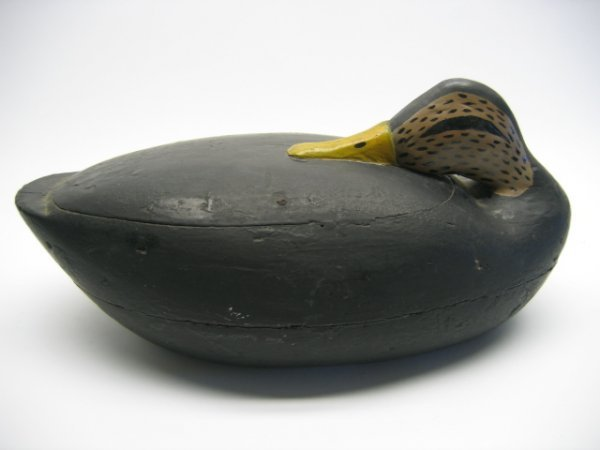 4021: Sleeping Black Duck Wooden Decoy