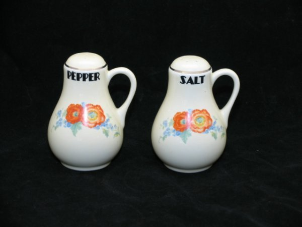 4: Halls Orange Poppy Handled Salt & Pepper