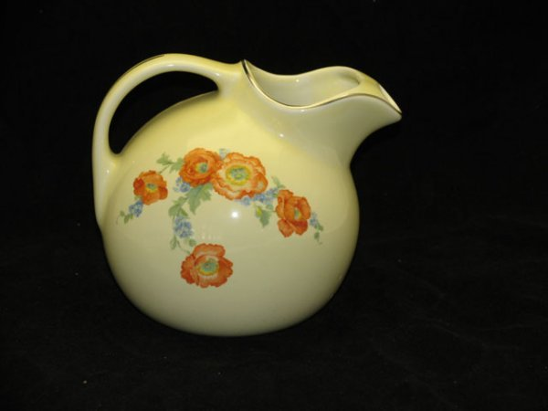 12: Halls Orange Poppy Ball Jug Pitcher