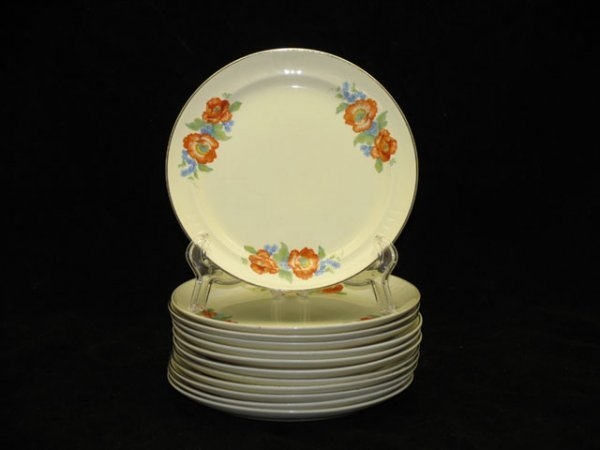 20: 12 Halls Orange Poppy Salad Plates