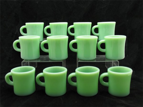 139: 12 Fireking Jadeite C-Handle Mugs