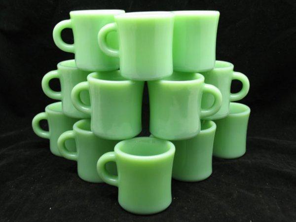 147: 12 Fireking Jadeite C-Handle Mugs