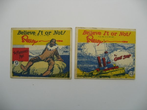 "1009: Ripley's ""Believe it or Not"" Gum Cards 2 c. 1937"