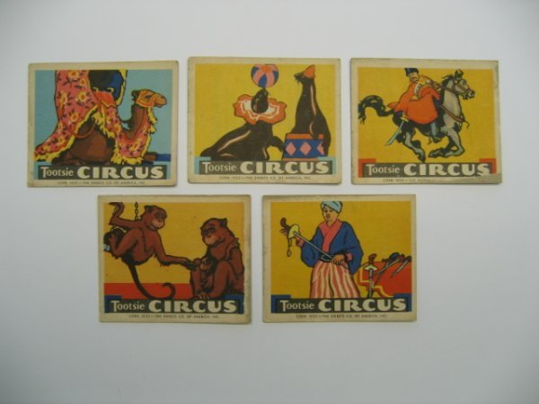 1011: Tootsie Circus 1933 Sweets Co. Card Grouping of 5