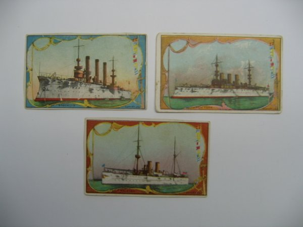1020: T41 Battleships Tobacco Cards (3) c. 1901