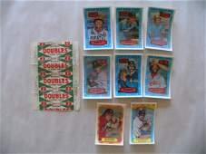 1615: 8 Kelloggs 1970's Baseball Cards & 1 Cent Wrapper