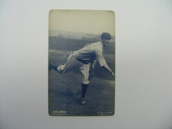 4021: Sam Jones Senators 1928 Exhibit Baseball Card