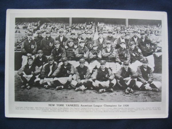 1016: New York Yankees A.L. Champs 1926 Photo Post Card