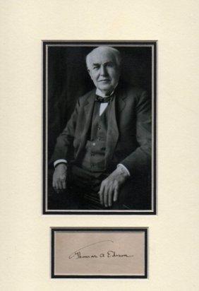 Thomas Edison Signed Paper.