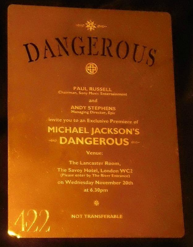 MICHAEL JACKSON:DANGEROUS GOLD PLATED INVITATION PLAQUE