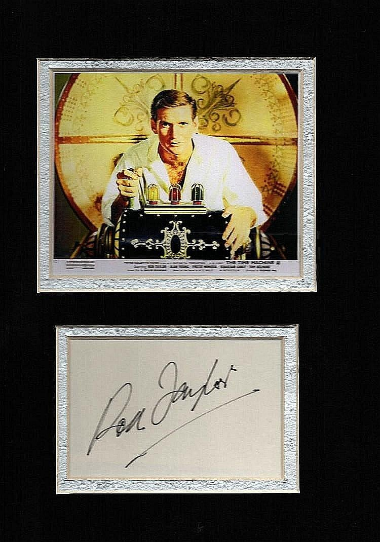 ROD TAYLOR: TIME MACHINE SIGNED PAPER IN PRESENTATION