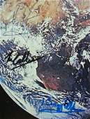 THE EARTH AS SEEN FROM APOLLO 11 SIGNED LITHO