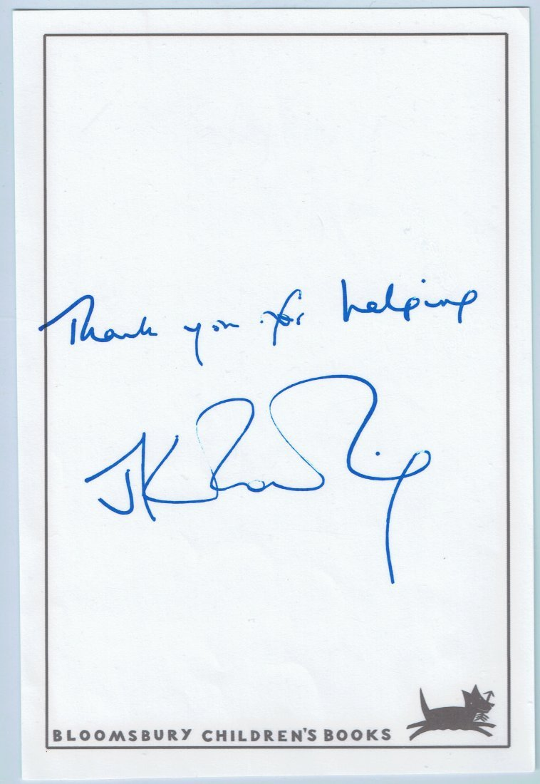 J K Rowling signed book plate.