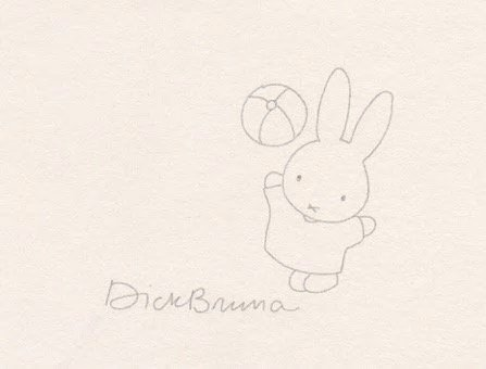 Dick Bruna hand drawing of Miffy.