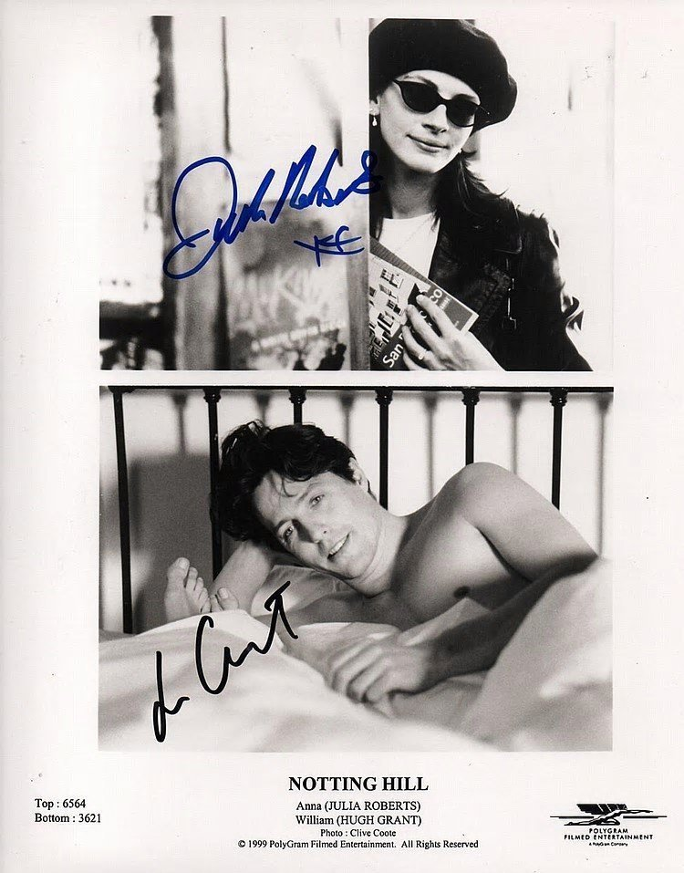 NOTTING HILL: JULIA ROBERTS/HUGH GRANT SIGNED PHOTO.