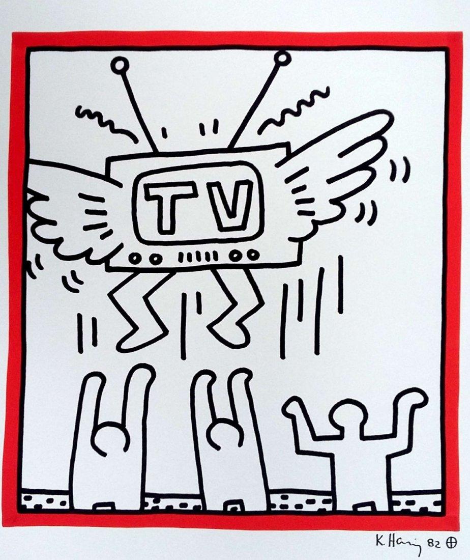 KEITH HARING: MAN WORSHIPS THE TV.