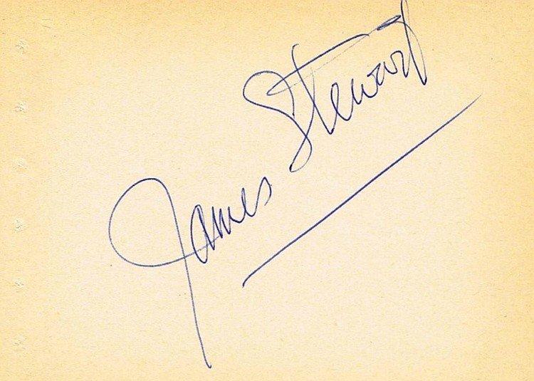 JAMES STEWART SIGNED PAPER.