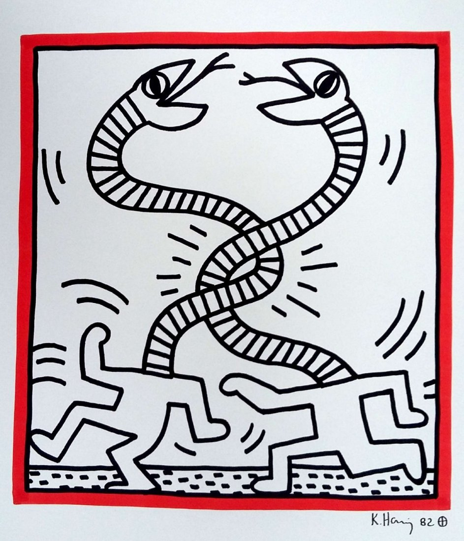 KEITH HARING: RUNNING MAN WITH THE SERPENT HEAD.