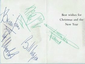 ROLLING STONES SIGNED CHRISTMAS CARD.