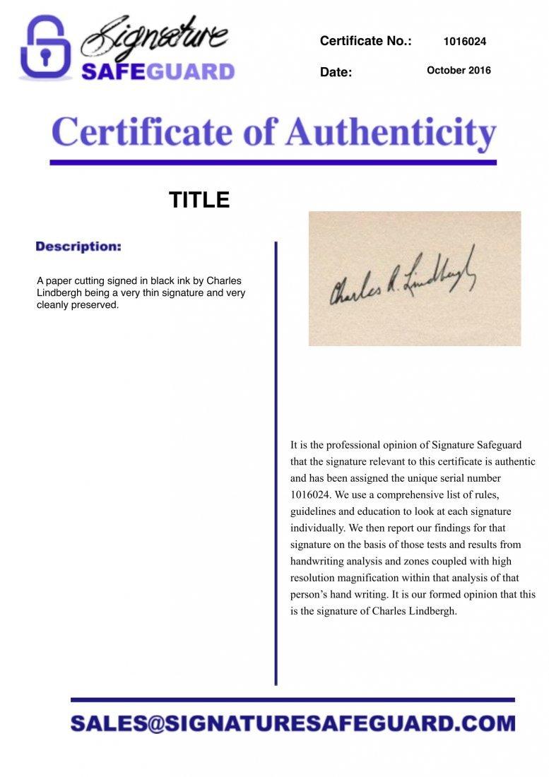 CHARLES LINDBERGH SIGNED. - 2