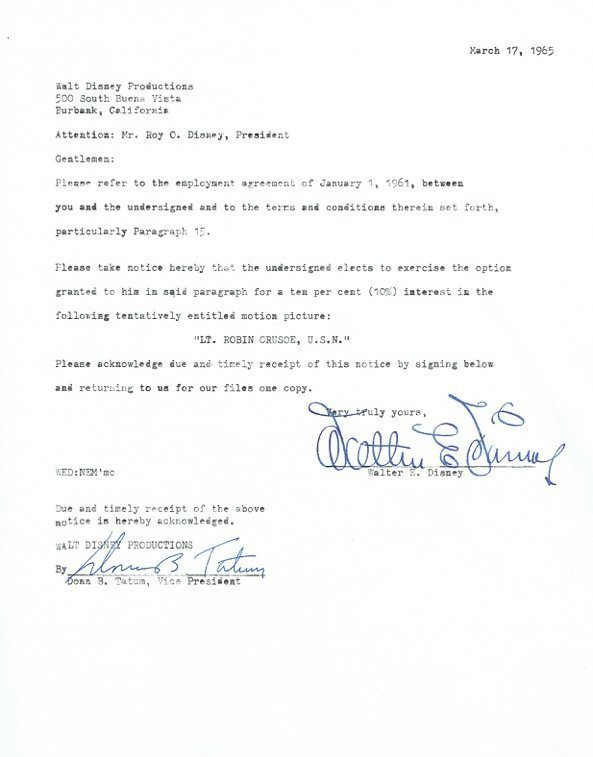 WALT DISNEY Contract lsigned by Walt Disney/ Donn Tatum