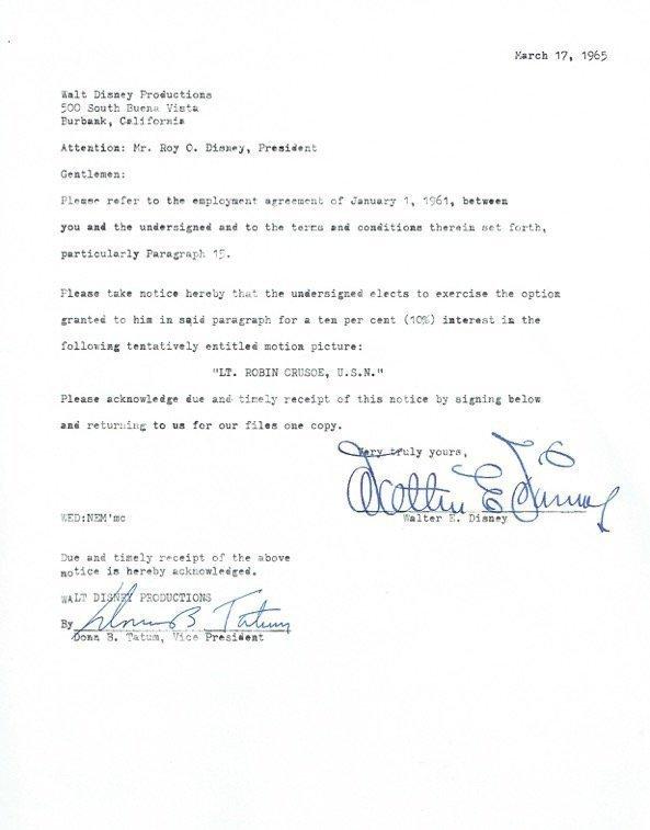 WALT DISNEY Contract lsigned by Walt Disney/ Donn Tatum