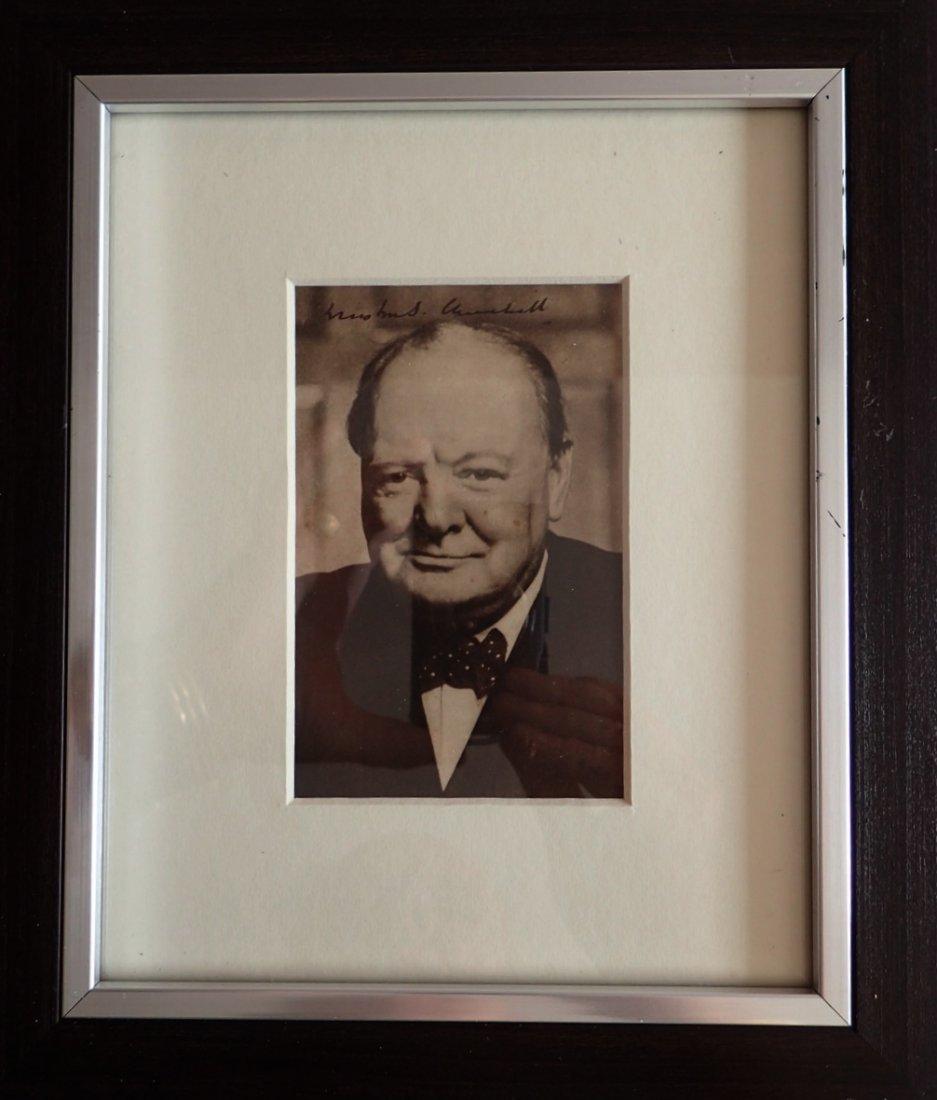 Winston Churchill Framed signed postcard.
