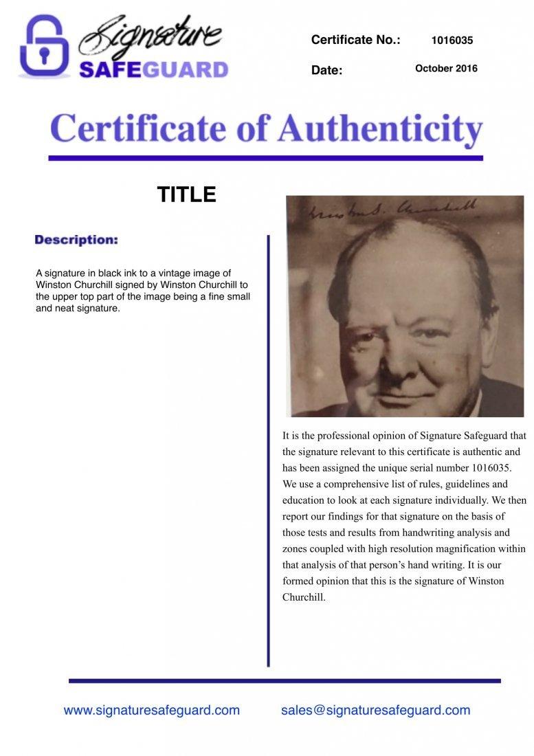 Winston Churchill Framed signed postcard. - 2