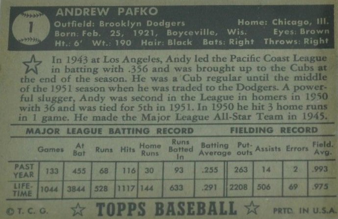 ANDY PAFKO: 1952 TOPPS CARD. - 2