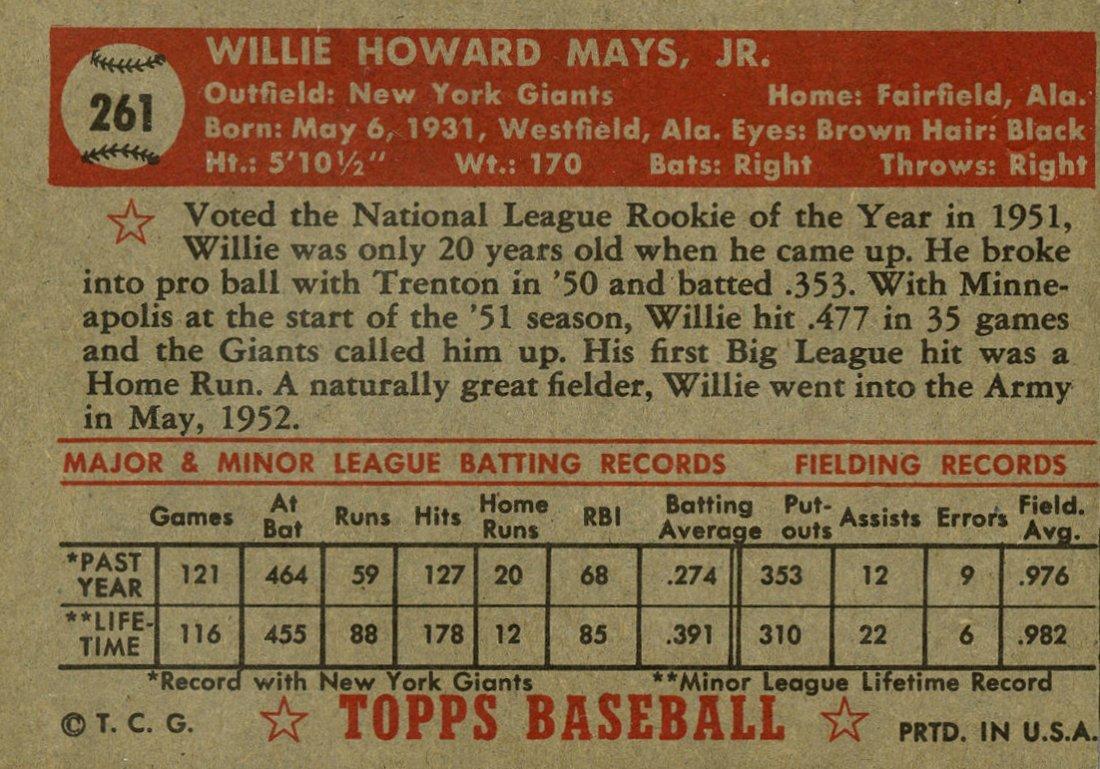 WILLIE MAYS NO 70. 1952 TOPPS BASEBALL CARD. - 2